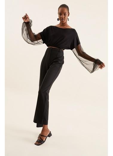 Quincey Tül Kollu Bluz Siyah
